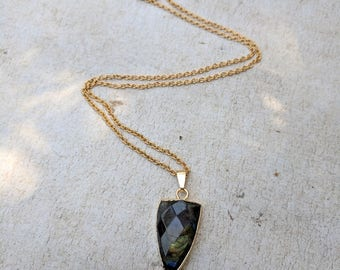 Labradorite necklace. Faceted Labradorite stainless steel Necklace. Simply Forever