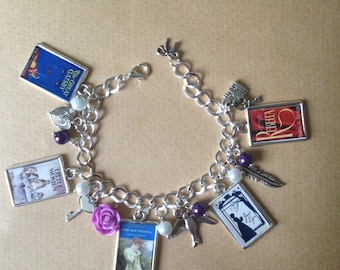 Literary Charm Bracelet - CHOOSE your Books - Handmade Unique (FREE or LOW cost shipping)