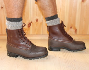 Mens boots Swedish army boots UNUSED Vintage Genuine leather boots Waterproof boots Military boots Heavyd uty durable work hiking outback