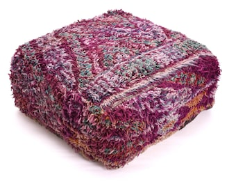 Moroccan Pouf, Floor Cushion, Berber Kilim Pouf Ottoman, Floor Pillow, Foot Stool, Refashioned from a Vintage Berber Rug. PVR024