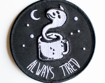 "Always Tired patch - 3""x3"" (8.89 x 8.89 cm)"