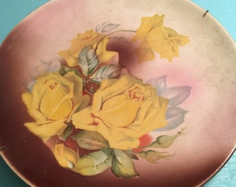 Vintage rose plate with hanger