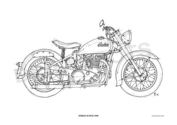 indian scout 1949 original handmade drawing print 11 5x16