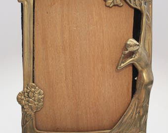 "Antique Art Nouveau Brass Frame 13.25"" x 8"" Site size 10"" x 8"""
