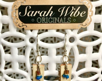 Leather, turquoise, & silver dangle earrings