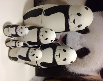 Panda Nesting Dolls designed and hand painted in the USA by Susan Kay