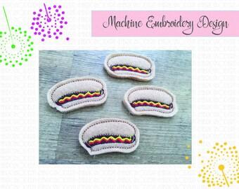 Hot Dog Feltie embroidery design  hot dog bun  feltie  hair clip design #852