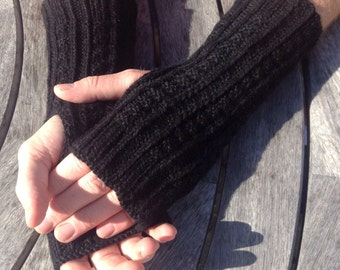 NEW COLOUR - Men's pure alpaca black fingerless glove / wrist warmer (one size ) by Willow Luxury