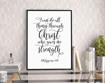 I Can Do All Things Through Christ, Philippians 4:13, Printable Bible Art, Christian Wall Art, Bible Verse Decor, Bible Typography Print