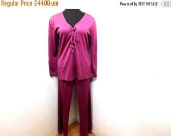 STOREWIDE CLEARANCE Vintage 70s Mulberry Purple Pink 2 Piece Outfit Pants Suit Lace Up Tunic Top Wide Leg Pants Mod Hippie M Medium