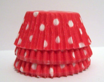 Mini Red Polka Dot Baking Cups- Candy Liners- Choose Set of 50 or 100
