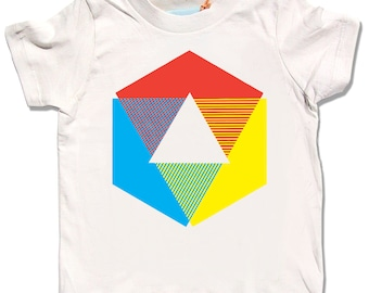 Color Wheel Shirt, organic cream short and long sleeve t-shirt for baby, toddler, and youth. Rainbow colors. originial Little Lark design