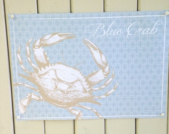 Blue crab disposable paper place mats, crab feed, blue beige, clambakes summer parties coastal