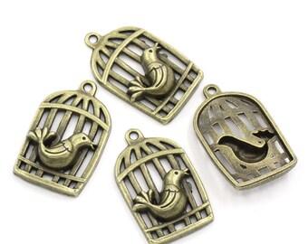 Charm bronze metal (x 1) large bird cage
