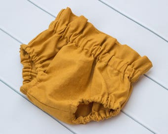 Baby Toddler Girl High Waisted Bloomers. Diaper Nappy Cover. Mustard Yellow Bloomer Shorties.