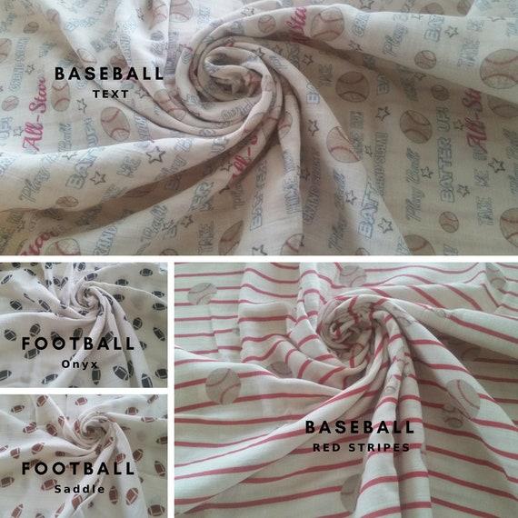 IN STOCK 1 Layer  Double Gauze Baby Swaddle / Organic Sweet Pea Gauze Newborn Swaddle - Summer Fun Mix Sports, Football & Baseball