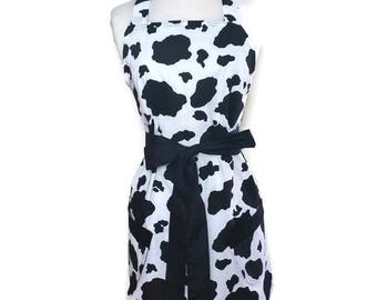 Classic Women's apron, Cow Print with black ties, bridal shower mother's day gift, retro Black and white, christmas gift
