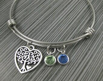 Adjustable Tree of Life Bangle / Family Tree  Jewelry / Tree of Life Charm Bracelet / Mom Gifts