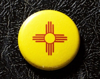 """1"""" New Mexico flag button, state, pin, badge, pinback"""