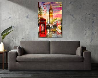 Printed Canvas Picture Art London England Big Ben Stretcher Frame Strips Included - Free Shipping - Home Decor Photography