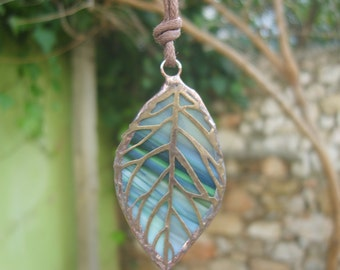Leaf Pendant, Nature inspired, Stained Glass Green Leaf Necklace, Leaf Jewelry, Nature lover gift, Bohemian Jewelry