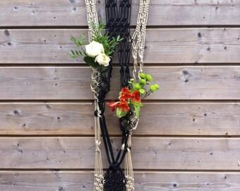 Macrame plant holder - beige black - plant hanger - wall hanging - wall hanging 4980