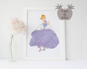 Cinderella | Disney Princess Art | Cinderella Wall Art | Disney Watercolor | Princess Nursery Decor | Disney Printable | Children's Wall Art
