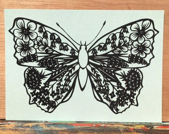 5 x greetingcard butterfly with flowers - from original paper cut