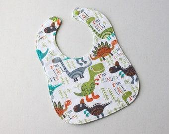 Baby Bib • Flannel Bib • Drool Bib • Teething Bib • Snap Bib • Handmade Bib • Triple Layer • Baby Shower Gift • Dinosaur print with green