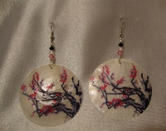 Cherry  Blossoms Hand Painted on Capiz Shell Earrings
