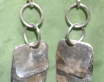 Hand Forged Sterling Silver Square Earrings