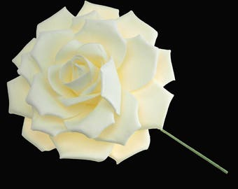 Large Rose Flower Stem Soft-Touch, Cream, 16-Inch