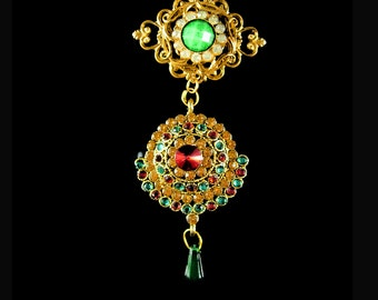 Bohemian Brooch Gypsy double drop Chandelier rhinestone Coro assemblage pin gold filigree green red golden topaz pave setting