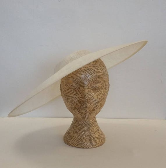 Large Oval Sinamay Hat   Ivory   Millinery, Fascinators, Races, Bridal, Weddings by Etsy