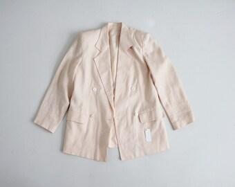 pale pink linen blazer | boxy blazer | double breasted blazer