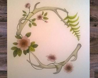 Custom Watercolor Baby Name Wreath Original Woodland Wild Roses and Antlers