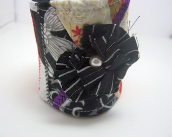 Flowers for a Skull Fabric Bracelet Patchwork Cuff