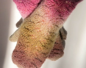 Hand knit mittens. Lace mittens. Knitted mittens. Multicolor knit mittens.Size M/L. Handmade miitens. Brown mittens. Gift for her. Mittens