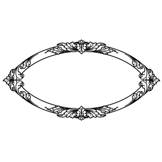 Vintage Oval Border FLONZ Clear Stamp Clingy Acrylic