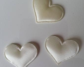 Lot de 3 appliques coeur satin ivoire