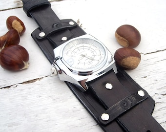 Mens Leather watch, Black leather Wrist Watch, Leather cuff watch, Right-hand watch