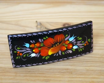 Painted Hair barrette Black wooden barrette Red poppy Petrykivka painting hair clip Ukrainian hair pin Hair accessories Hairclips for women