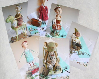 """Set of 6 Cards - """"Travel to the childhood"""". Postcards. Greeting card. Card with Art Dolls. Funny Postcards."""