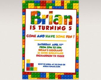 Building Brick Blocks Birthday Party printable invitation - Birthday Party Invitation #350