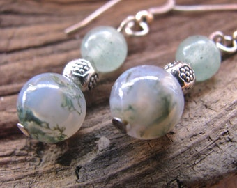 Moss Agate, Serpentine and Silver Earrings