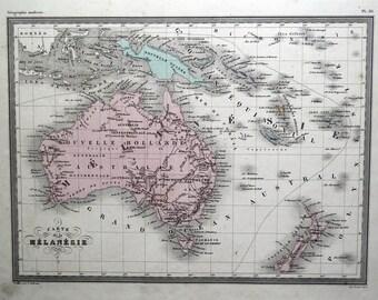 AUSTRALIA NEW Zealand NEW Guinea Melanesie Original Antique Vintage Map c1850