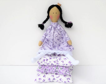 The Princess and the Pea fabric doll, cloth doll fairy tale doll purple lilac princess doll brunette stuffed doll play set gift for girl