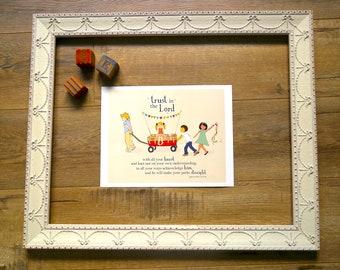 Trust In The LORD - Scripture Art Print - Children wall art