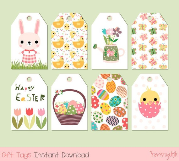 Printable easter gift tags cute digital easter tags instant negle Choice Image