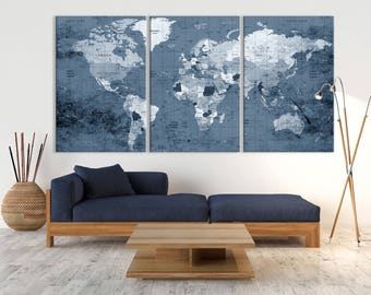 Blue-Colored XLarge 3 Panels Push Pin World Map with Country Names, Large World Map Wall Art, Push Pin Travel Map, Ready to Hang Canvas